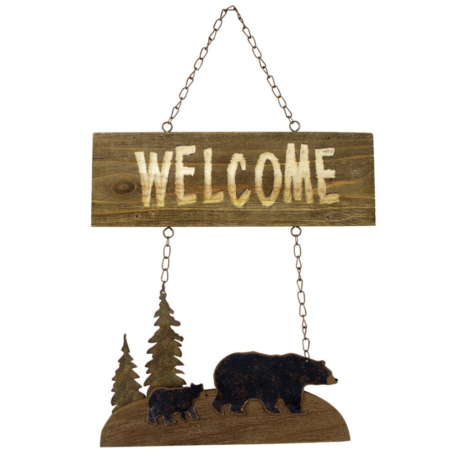 black bear wooden sign