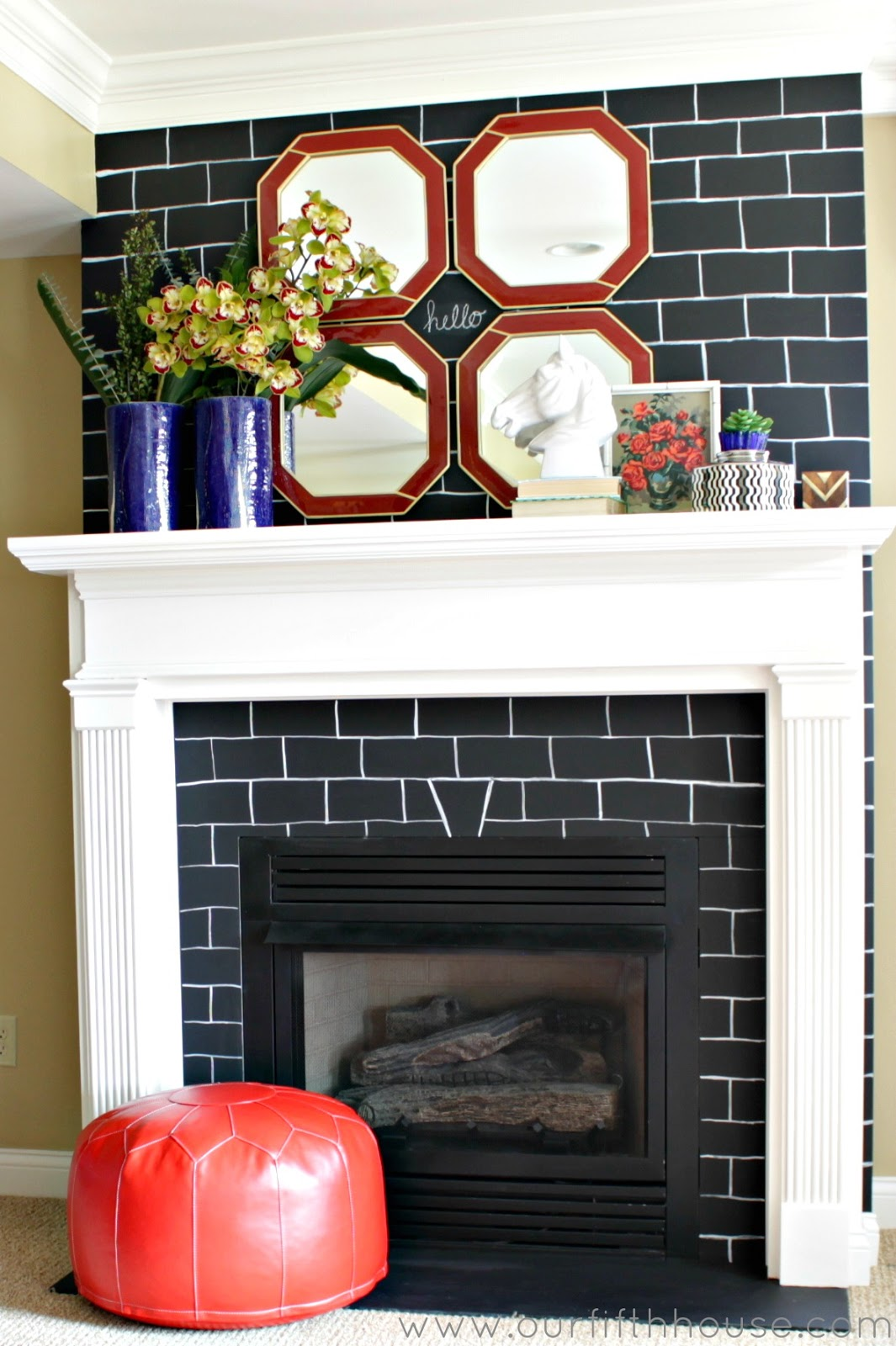 redecorating existing brick fireplace makeover