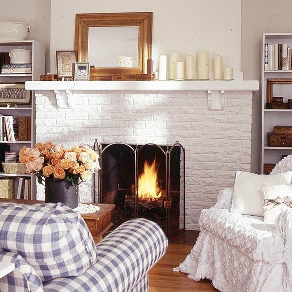 White Brick Fireplace Makeover