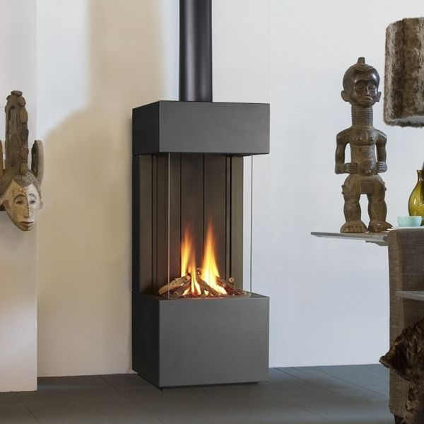 Free standing gas fireplaces for Contemporary ventless gas fireplaces