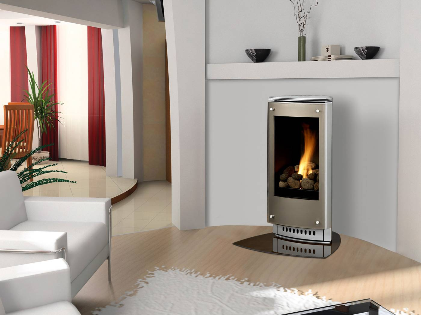 Gas fireplace freestanding designs for indoor use for Contemporary ventless gas fireplaces