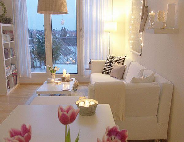 Chic flower decoration Drum floor lamp Precious white sofa White coffee table