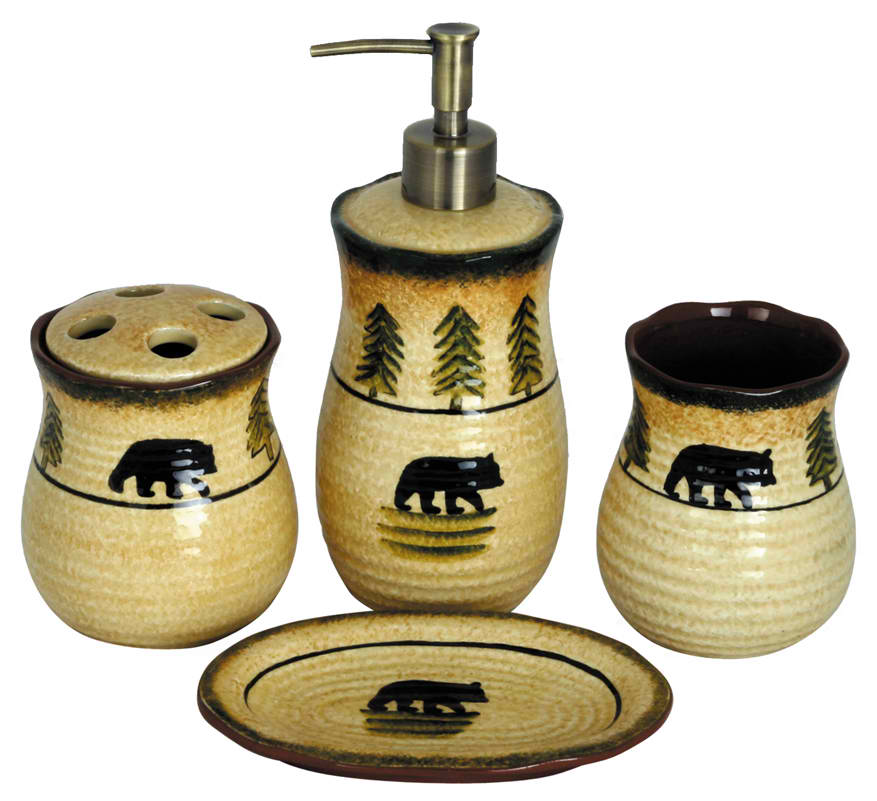 bear bathroom accessory set