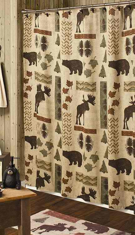 big moose and bear shower curtain
