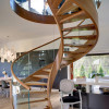 glass and wood spiral staircase