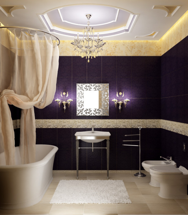 violet bathroom decorations
