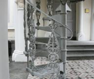white metal spiral staircase
