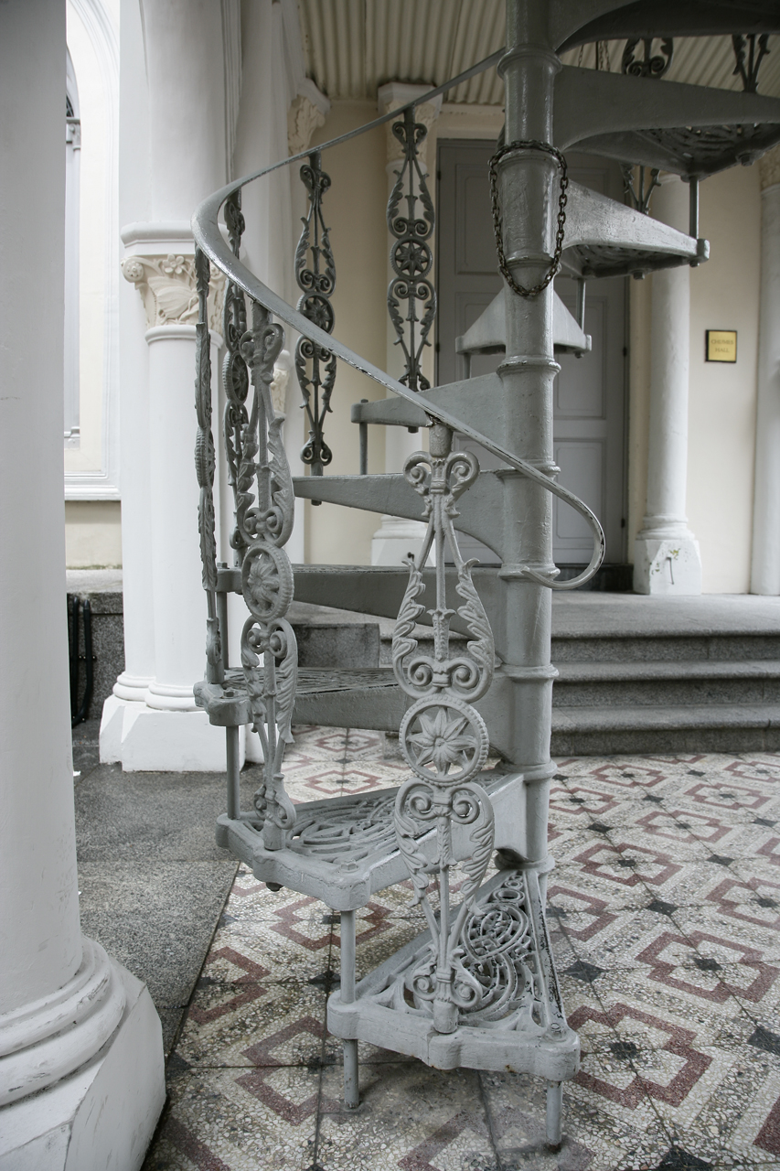 white metal spiral staircase