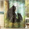 bathroom shower curtain with black bears design