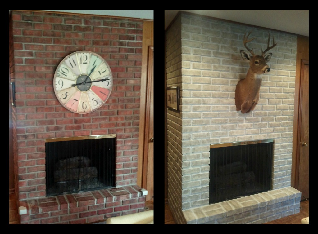 brick wall fireplace makeover